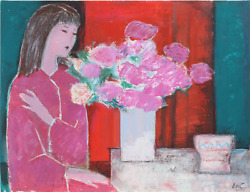 Jose Canes Woman In Pink With Flowers Acrylic And Pastel On Paper Signed L.r.