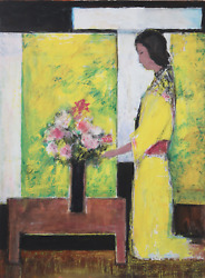 Jose Canes Woman In Yellow With Flowers Acrylic And Pastel On Paper Signed L.