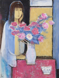 Jose Canes Woman In Blue With Flowers Acrylic And Pastel On Paper Signed L.r.