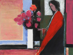 Jose Canes Woman In Red With Flowers Acrylic And Pastel On Paper Signed L.r.
