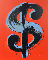 Andy Warhol, Dollar Sign Red, Screenprint, Stamped In Blue Verso