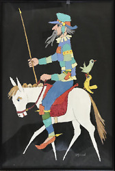 Jovan Obican Don Quixote On Horse Acrylic On Paper Signed L.r.