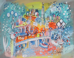 Charles Cobelle Bridges Of Paris With Light Posts Acrylic On Canvas Signed