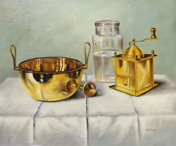 András Gombár, Brass Coffee Grinder And Bowl Still Life, Oil On Canvas Mounted T