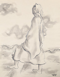 Laurent Marcel Salinas, Bedouin Woman 336, Wash And Ink On Paper, Signed L.r.