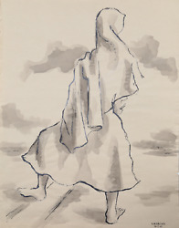 Laurent Marcel Salinas, Bedouin Woman 337, Wash And Ink On Paper, Signed L.r.