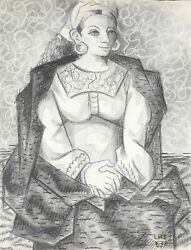 Laurent Marcel Salinas, Egyptian Woman In Purple Study 320, Charcoal On Paper,