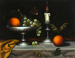 Abraham Straski, Still Life With Silver Platter And Candlestick, Oil On Canvas O