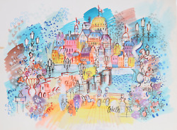 Charles Cobelle, Paris From The Bridge With French Flags, Acrylic On Paper, Sign