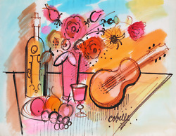 Charles Cobelle, Still Life With Mandolin And Flowers 2, Acrylic On Paper, Signe