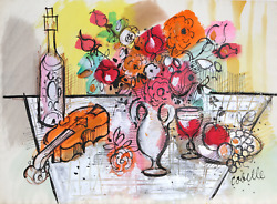 Charles Cobelle, Still Life With Violin And Flowers 3, Acrylic On Paper, Signed