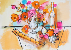 Charles Cobelle, Still Life With Recorder And Flowers, Acrylic On Paper, Signed