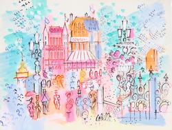 Charles Cobelle Paris Streets With Moulin Rouge 3 Acrylic On Paper Signed L.r