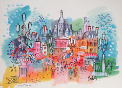 Charles Cobelle, Paris Cityscape With Cafe, Acrylic On Paper, Signed L.r.