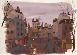 Charles Levier Paris Cityscape At Sunset Watercolor On Paper Signed L.l.