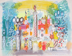 Charles Cobelle Place Vendandocircme 7 Acrylic On Paper Signed L.r.