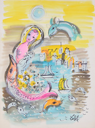 Charles Cobelle, Seascape With Mermaid And Fish, Acrylic On Paper, Signed L.r.