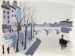 Charles Levier Paris River View Ii Watercolor On Paper Signed L.r.