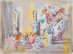 Charles Cobelle, Still Life With Wine And Fruit 3, Acrylic On Paper, Signed L.r.
