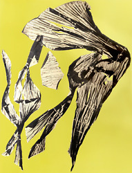 Lynda Benglis, Dual Nature Yellow, Lithograph With Gold Leaf On Hand Tinted Pa