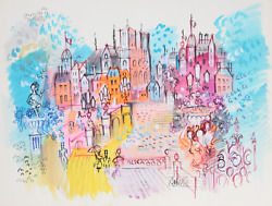 Charles Cobelle Paris City Street With Notre Dame Acrylic On Paper Signed L.r
