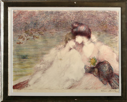 Louis Marie Joseph Ridel Two Women In Boat Lithograph Signed And Numbered In
