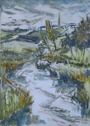 Laurent Marcel Salinas, River And Village In Brittany L'elorn A Sizun 956, O