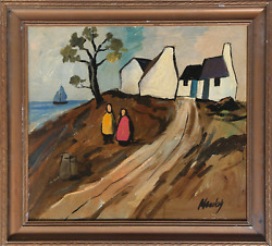Markey Robinson, Untitled - Two Figures In A Landscape, Oil On Board, Signed L.r