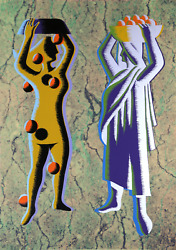 Mark Kostabi Two Cultures - Green Screenprint Signed And Numbered In Pencil