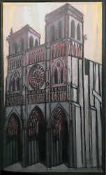 Unknown Artist Westminster Abbey Oil On Canvas Signed And039lennonand039