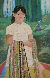 Biagio Civale Girl Selling Necklaces Oil On Board Signed L.l.