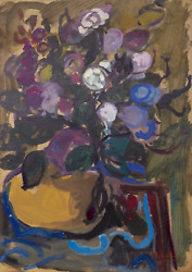 Moshe Rosentalis, Bouquet, Gouache On Board, Signed And Dated