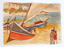 Charles Levier, Large Sailboats On Shore Ii, Watercolor On Paper, Signed L.r.