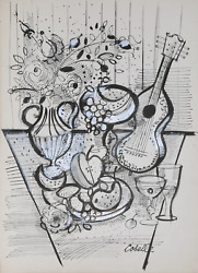 Charles Cobelle, Still Life With Mandolin, Ink And Pencil On Paper, Signed L.r.