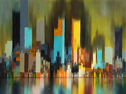 James Sherman Cityscape 6 Oil On Canvas Signed L.r.