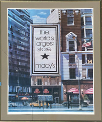 Ken Keeley Macyand039s - The Worldand039s Largest Store Offset Lithograph Signed In Pen