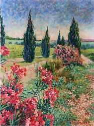 Diane Monet Guardians Of The Flowers Oil On Canvas Signed