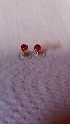 Red Glass Earrings 6 Settind Brass Gold Plated Good Quality Stone 6mm