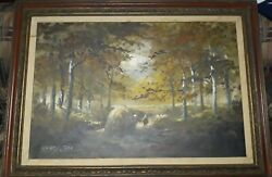 Vintage Jose Luis Campuzano Oil Painting On Canvas Landscape / Fishing Framed