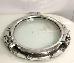 Old Vintage Style Marine Silver Round Ship Porthole Window With Two Dogs Lot 7