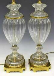 Pair Vintage Baccarat Paul Hanson Fluted Glass Table Lamps Mid Century Modern