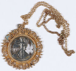 1943 Walking Liberty Half Cutout Gilded Gold Coin Necklace Pendant Jewelry