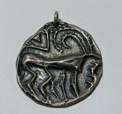 Sterling Silver Rare Early Ed Levin Work With Deer Marked Benn Vt Pendant
