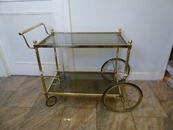Hollywood Vintage Mid Century Bar Cart Serving Trolley Gilded Glass Onyx Marble