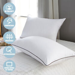 Set of 2 Luxury Down Bed Pillows Side Sleepers Ultra Soft Pillow Queen King Size