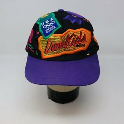 Rare VTG OLYMPICAP Iron Kids Bread Atlanta 1996 Leather Strapback Hat Cap 90s