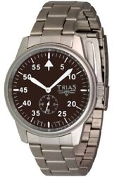 Trias Military Automatic Watch Face Braun Aviator Mens Stainless Steel