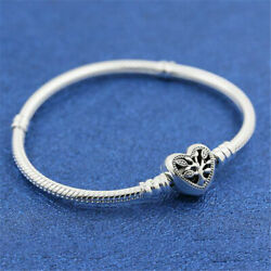 925 Sterling Silver Moments Family Tree Heart Clasp Snake Chain Bracelet