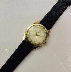 Vintage 9ct Gold Gents Avia Mechanical Wind Up Watch 1954-55 Full Working Order