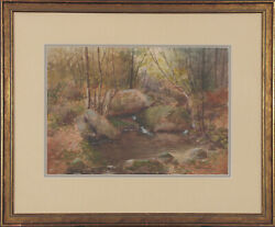 Susan Field Bissell Signed Original Antique 1900 Watercolor Serene Forest Pool
